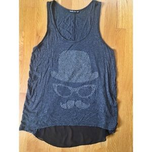 Mustache Glasses Top Hat Beaded Tank Top with Mesh